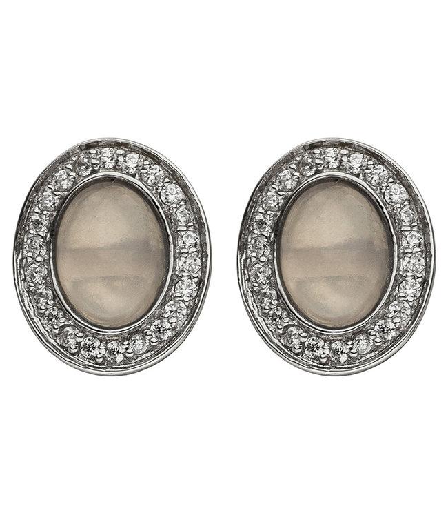 Aurora Patina Silver ear studs rose quartz and zirconia