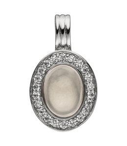 Aurora Patina Silver pendant rose quartz and zirconia