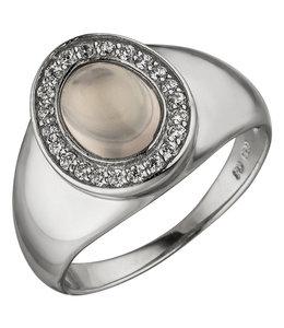 Aurora Patina Silver ring rose quartz and zirconia