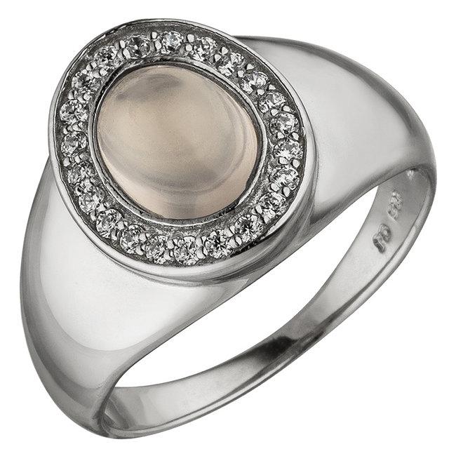 Zilveren ring met rozenkwarts en zirkonia