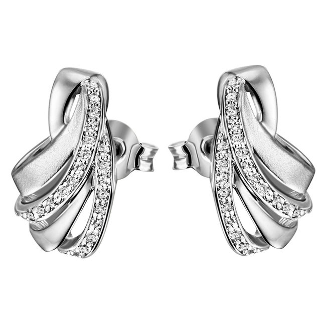 Earrings in partly matted 925 sterling silver with zirconia