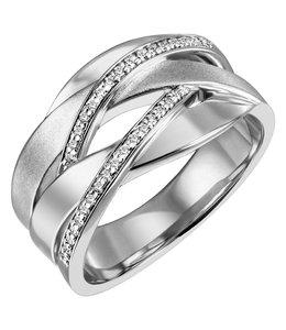 JOBO Ring deels gematteerd zilver met zirkonia