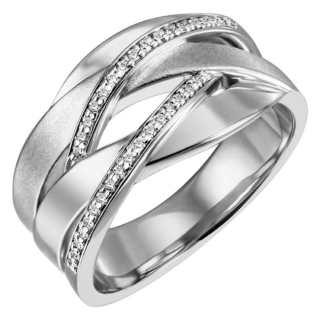 Ring in partly matted silver with 34 zirconia's