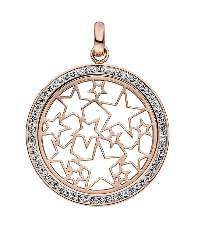 JOBO Stainless steel pendant with stars decorated with crystals