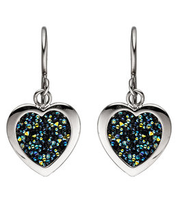 Aurora Patina Stainless steel earrings Hearts with crystals
