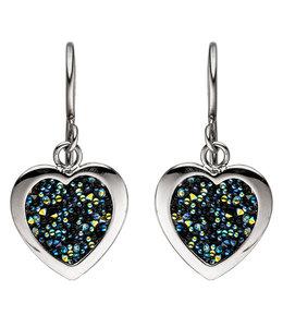 JOBO Ohrringe aus Edelstahl Herzen mit Kristallen