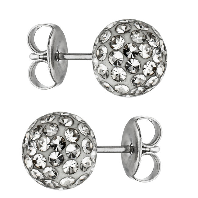 Aurora Patina Stainless steel earstuds with crystal 8 mm