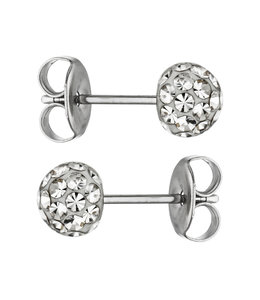 Aurora Patina Stainless steel earstuds with crystal 5 mm