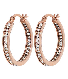 JOBO Stainless steel creole earrings red gold plated