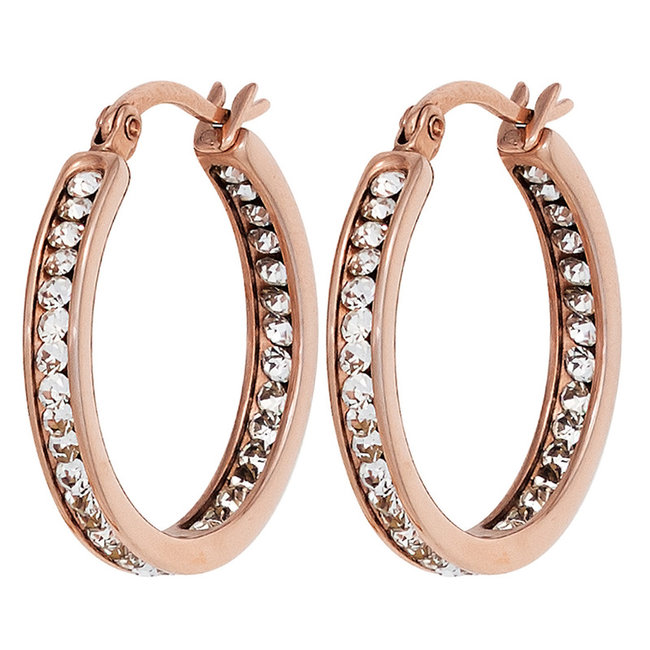 Stainless steel creole earrings red gold plated with crystals