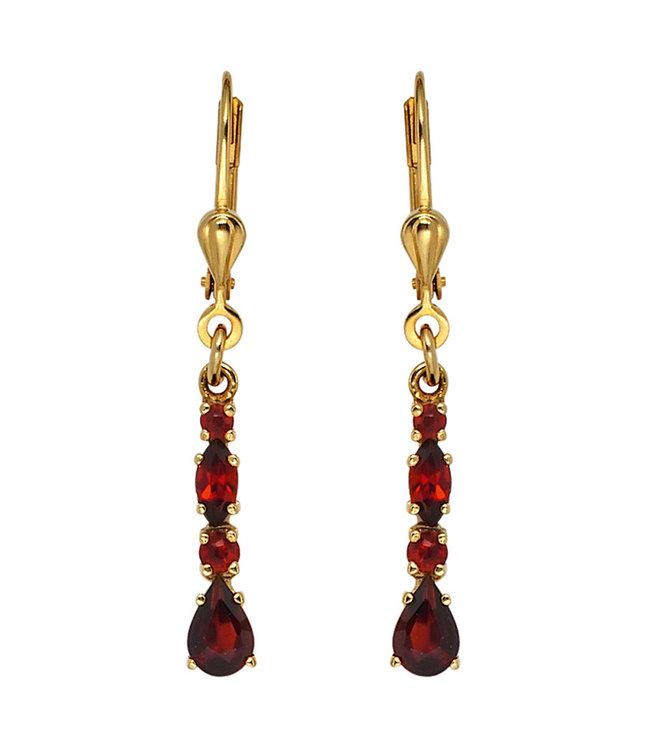 JOBO Gouden oorbellen 9 karaat (375) met 8 rode granaten