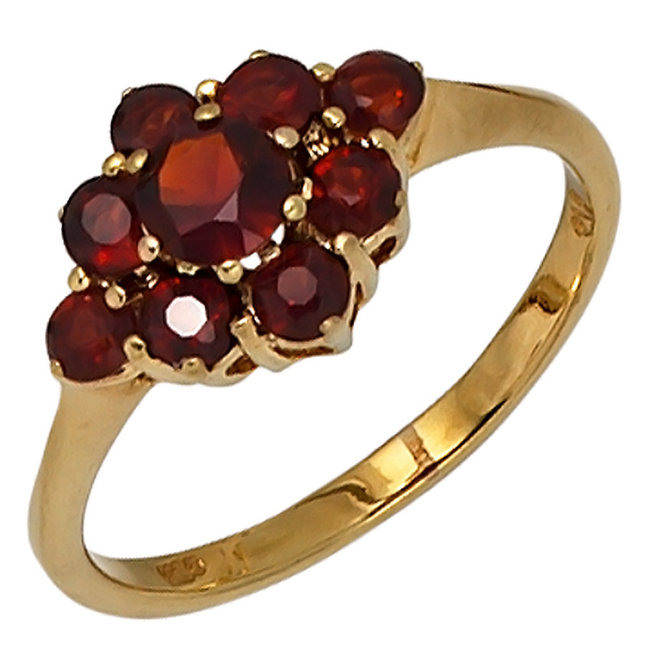Gold ring 9 carat (375) with 9 red garnets