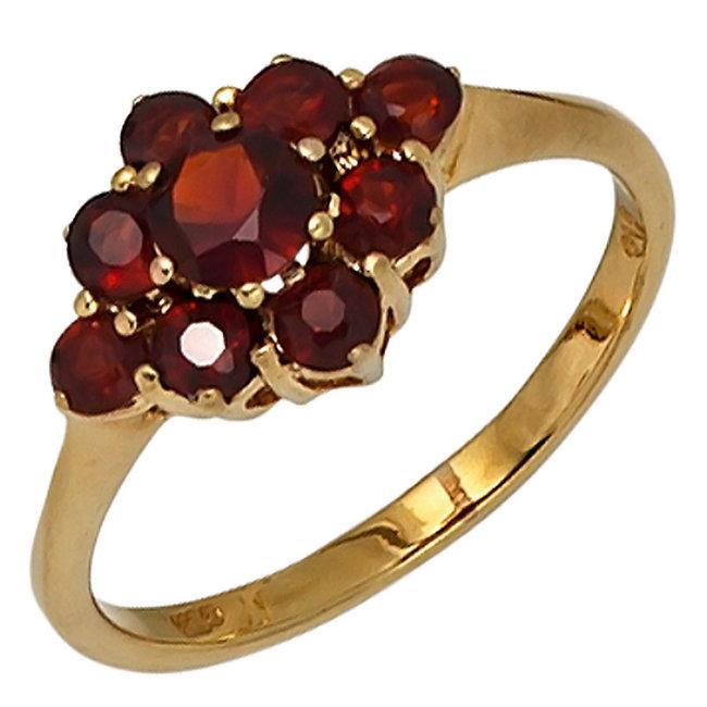Gouden ring 9 karaat (375) met 9 rode granaten