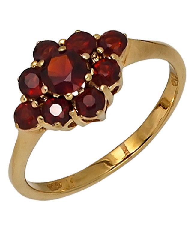 Aurora Patina Goldring 9 Karat (375) mit 9 roten Granaten