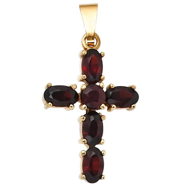 Aurora Patina Goldanhänger Kreuz mit 6 Granaten