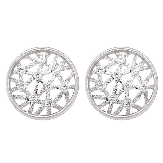 White golden earstuds 8 carat (333) with zirconia