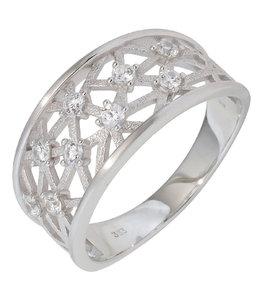 Aurora Patina White golden ring with 9 zirconias