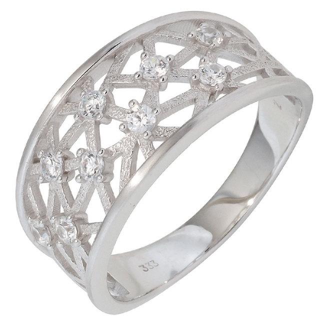 Aurora Patina Weißgold Ring mit 9 Zirkonia
