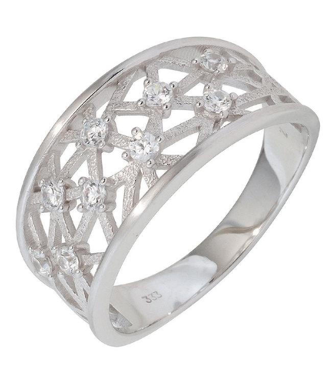 JOBO White golden ring 8 carat (333) with 9 zirconias