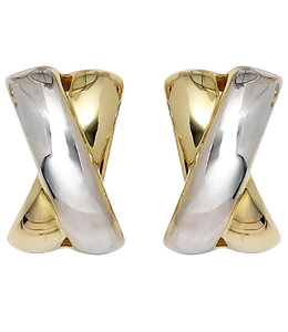 Aurora Patina Gold ear clips partly rhodium plated