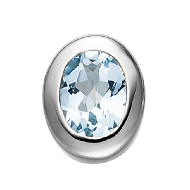 Sterling silver pendant (925) with blue topaz light blue