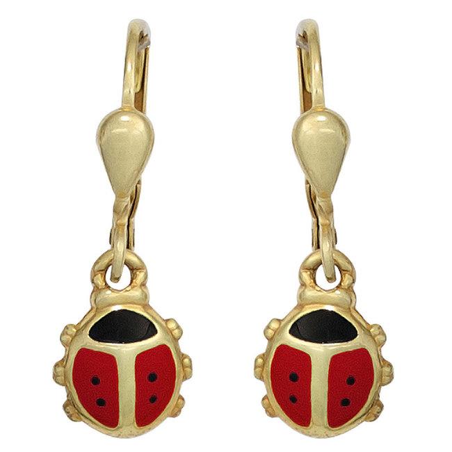 Kids earrings Ladybugs in 333 gold