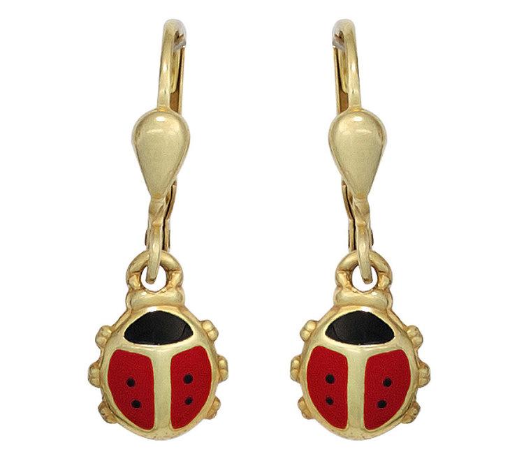 Kids earrings Ladybugs in 333 gold - Aurora Patina modern jewellery