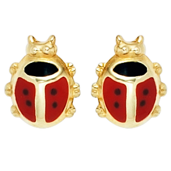 Aurora Patina Kids earring studs  Ladybugs Gold