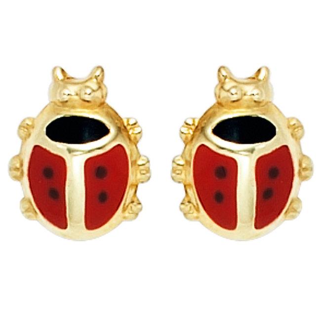Gouden oorstekers voor kinderen lieveheersbeestjes