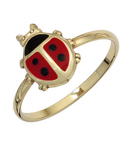 Aurora Patina Gouden ring lieveheersbeestje maat 48