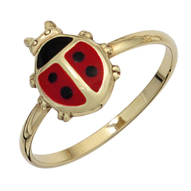 Gouden ring lieveheersbeestje kindermaat 48