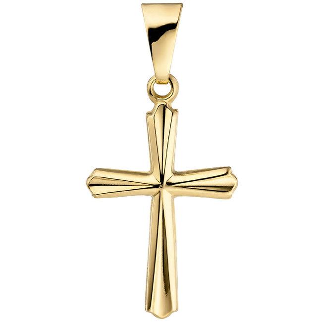 Aurora Patina Gouden hanger kruis 375 goud