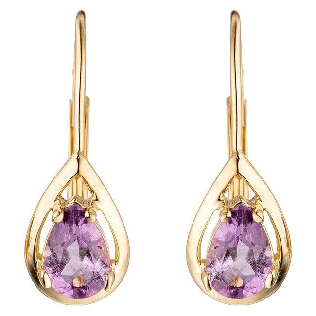 Golden earrings (333) droplet Amethyst