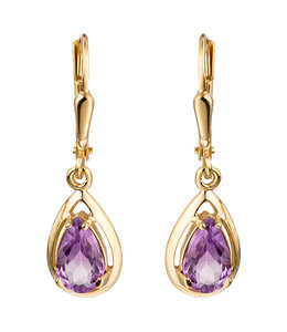 Aurora Patina Golden earrings Amethyst