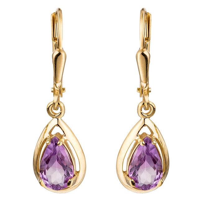 Aurora Patina Golden earrings Amethyst
