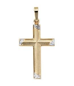 JOBO Gouden kettinghanger kruis bicolor