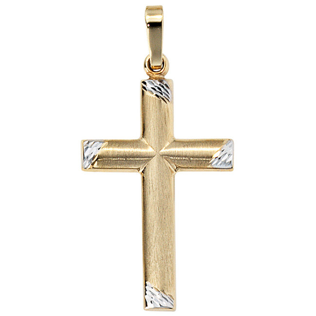 Gold pendant cross 8 carat Bicolor