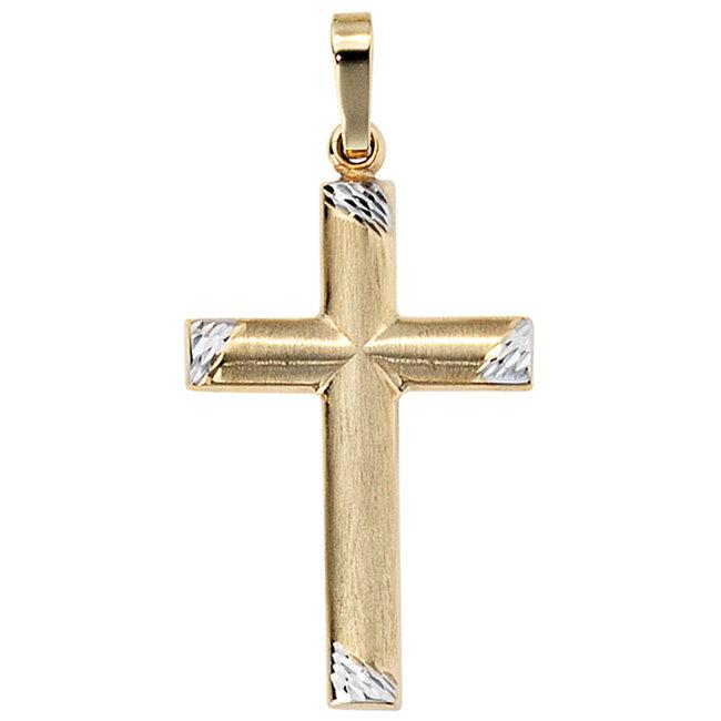 Gouden kettinghanger kruis 8 karaat bicolor