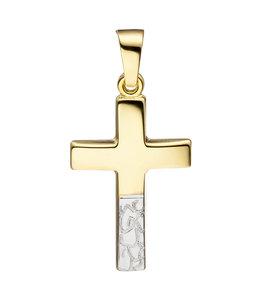 JOBO Gouden kettinghanger kruis gediamanteerd