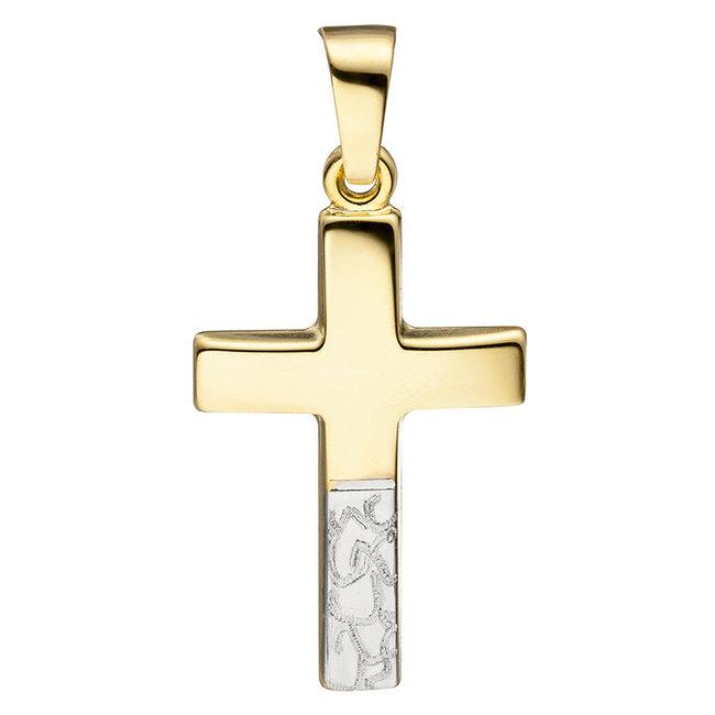 Aurora Patina Gouden kettinghanger kruis gediamanteerd