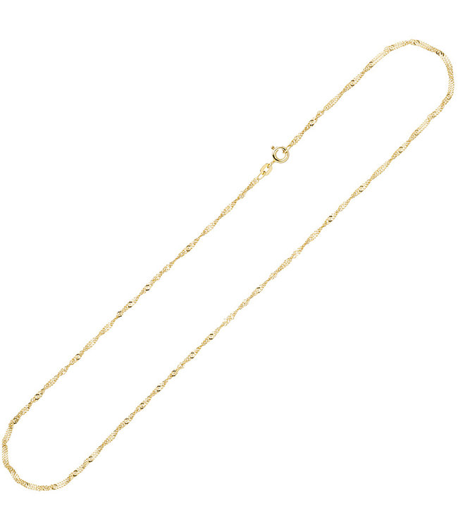 Aurora Patina Gouden halsketting 8 kt. 333 Singapore lengte 42 cm diam. 1,8 mm