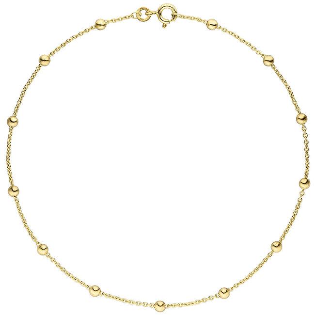 Gouden enkelbandje 8 kt. 333 met anker schakels lengte 25 cm diam. 1,3 mm