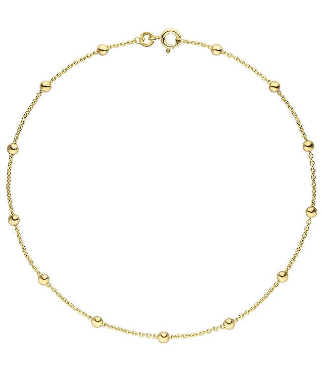 Aurora Patina Gouden enkelbandje 8 kt. 333 met anker schakels lengte 25 cm diam. 1,3 mm