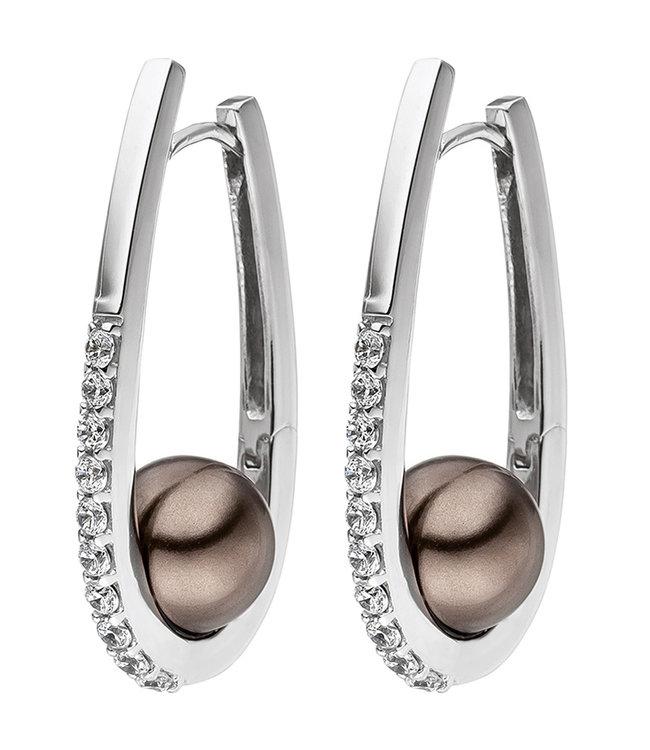 Aurora Patina Ohrringe Silbercreolen 925 Sterlingsilber mit braunen Perlen und 20 Zirkonia