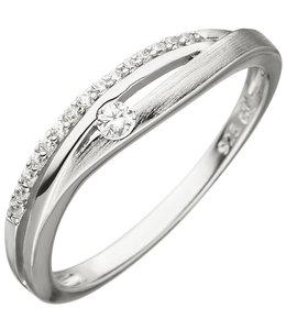 JOBO Zilveren ring deels gematteerd met 16 zirkonia's