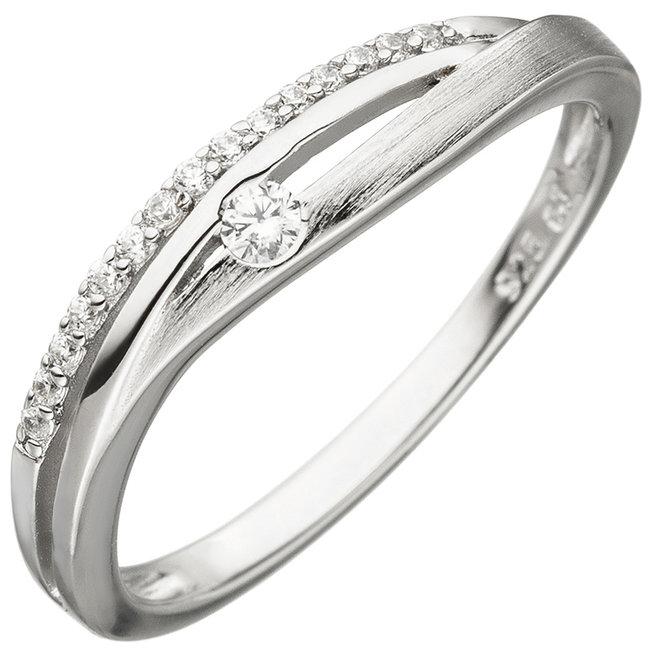 Ring deels gematteerd zilver met 16 zirkonia's
