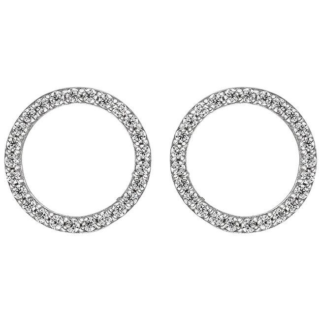 Aurora Patina Ronde zilveren oorstekers met zirkonia