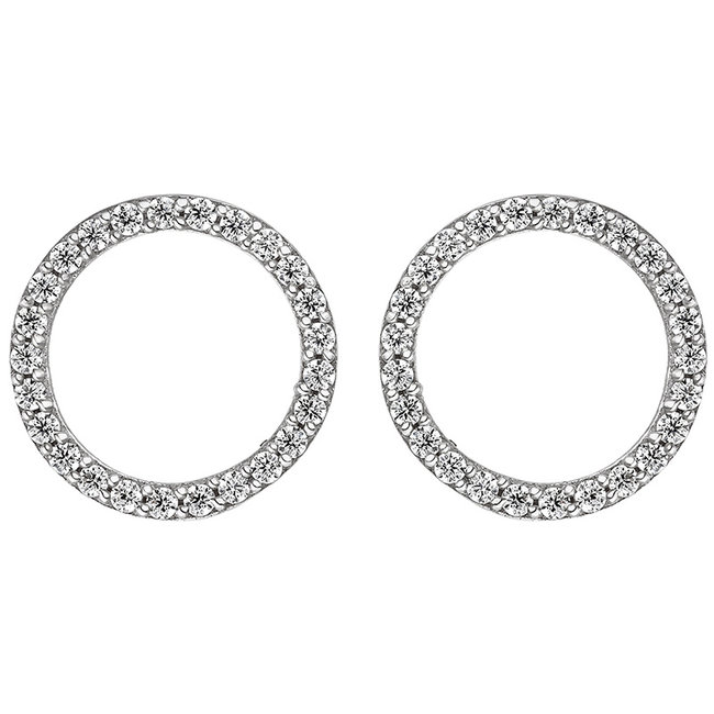 Round silver earring studs with zirconia