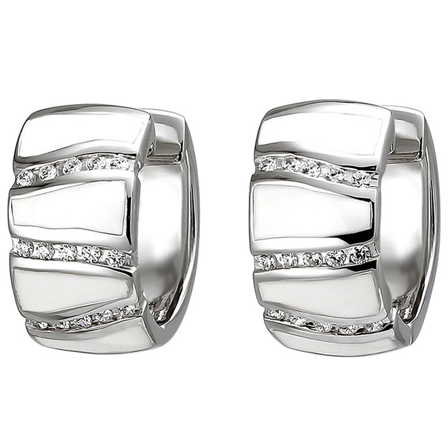 Silver creoles 8 mm wide with zirconia and white enamel