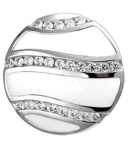 Aurora Patina Silver pendant with zirconias and white enamel